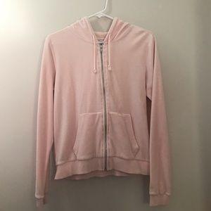 Pink velour zip-up hoodie